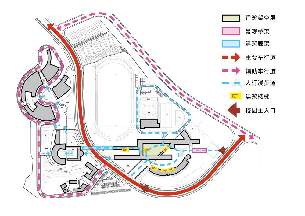 深圳外国语学校高中部位于广东省深圳市盐田区明珠大道,为全寄宿的重点学校。学校依山而建,校园建筑布局结构清晰,轴线明显。但目前配套校园景观功能单一生硬,造成户外空间利用率较低。针对现状问题,设计师从周边环境和校园规划总平面出发,重新发现校园轴线,识别与轴线关系密切的校园公共空间,并重新划分空间,赋予不同的使用功能,让原本消极的户外场所成为校园课外学习和生活的一部分。 延续初中部景观设计原则,以国际、交流、自然、生态、 休闲、文艺、个性作为景观设计的关键词和设计方案评判标准。针对高中部校园规划结构,重要公共